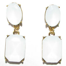 1930s Style Bronze White Faux Opal Stud Drop Earrings Vintage Art Deco 20s 1415