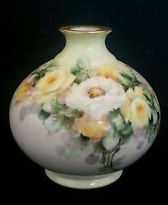 """Antique Belleek Willets hand painted vase """"Yellow & White Roses"""", circa 1900"""