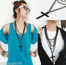 New Retro Fashion Punk Gothic Vintage Cross Pendant Long Chain Necklace