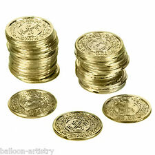 72 Pirate Treasure Golden Gold Coins Children's Party Props Favours Decorations