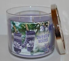 NEW BATH & BODY WORKS SWEATER WEATHER SCENTED CANDLE 3 WICK 14.5 OZ LARGE PURPLE