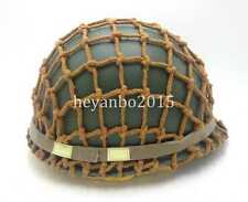 WWII US ARMY PARATROOPER M1 HELMET COVER COTTON CAMOUFLAGE NET HELMET AND STRAP