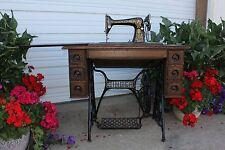 1910 Tiger Oak Singer Red Eye 7 Drawer Treadle Sewing Machine w Manual Tools etc