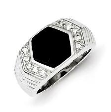 925 Sterling Silver Polished Grooved Men's CZ & Black Onyx Ring Size 10