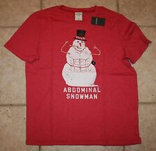 NWT Abercrombie Boys Large Abdominal Snowman Red T-Shirt