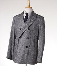 NWT $2395 BELVEST Woven Gray Wool-Silk Donegal Tweed Peacoat 40 R (Eu 50) Coat