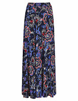 Famous Store Womens Long Maxi Paisley Stretch Swishy Skirt Navy Blue 8-24