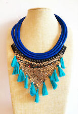 Blue Tube Silver Fabric Tassel Tribal Fashion Chunky Bohemian Necklace