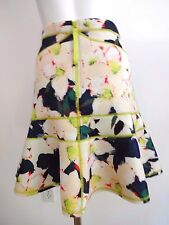J.CREW FLORAL NEOPRENE FIT AND FLARE LIME GREEN STITCH ACCENT SKIRT 6 NWT