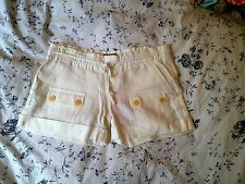 NEW JUICY COUTURE WHITE LINEN CUFFED DRAWSTRING WAIST SHORTS SIZE P UK 6 8 $128