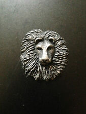 Lion Head Pewter Effect Animal 3D Pin Badge
