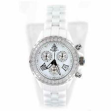 TECHNO JPM 868C WHITE CERAMIC 2.15CT DIAMOND BEZEL CHRONO QUARTZ WOMENS WATCH
