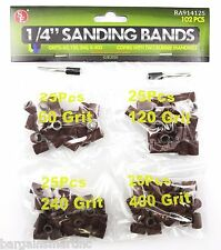 "102pc 1/4""x1/2"" Sanding Bands Drums Sleeves Set 60 120 240 400 Grit Rotary Tool"