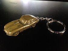 Jaguar E Type Series 1 FHC Brass Effect 3D split-ring keyring FULL CAR ref101