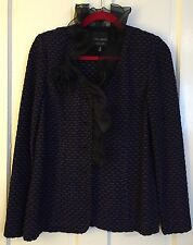 MING WANG SAPPHIRE Knitted Blazer Sweater Suit Jacket Top Ribbon Embellishment S