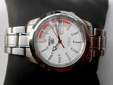 NEW VINTAGE MILITARY STYLE WHITE DIAL SEIKO 5 JAPAN MENS AUTOMATIC WRISTWATCH