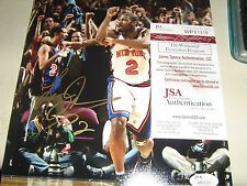 JSA STICKER AND CARD Larry Johnson Signed AUTO Knicks 4 Point Play 8x10 Photo