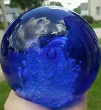 Blue Cobalt Glass Round Crystal Ball Paper Weight Controlled Air Bubbles 4 1/2""