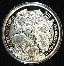 *2012 PROOF Rwanda African Rhino 1oz Silver 999 Coin - RARE - Only 1k Minted*
