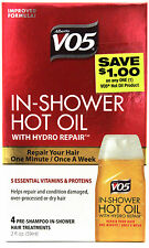 VO5 IN-SHOWER HOT OIL HAIR TREATMENT HYDRO REPAIR 4 TREATMENTS TOTAL 2 OZ.