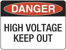 Danger High Voltage Keep Out  Metal Placard Sign Safety 300x225mm