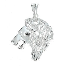 925 Sterling Silver Powerful Lion Pendant - Made in USA (13 Grams)