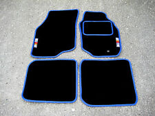 Black/Blue Car Mats - Mitsubishi Lancer Evolution 8 (Evo VIII) + RalliArt Logos