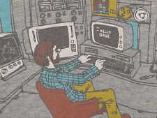 HELLO DAVE, OLD SCHOOL COMPUTER CARTOON 2001 SPACE KUBRICK GRAY LARGE HAL 9000