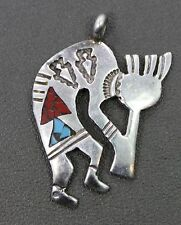 Jerylene Begay Navajo Sterling Silver Turquoise & Coral Inlay Kokopelli Pendant
