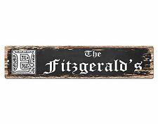 SPFN0390 The FITZGERALD'S Family Name Street Chic Sign Home Decor Gift Ideas