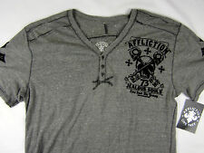 Affliction Jealous Souls Henley 3-button Gray men's shirt size 2XL
