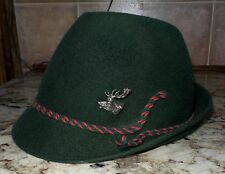 Vintage 1960's Bavarian Austrian Hat Oktoberfest, Wool Felt with Pewter Stag Pin