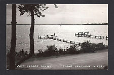 Clear Lake Iowa IA c1939 RPPC Sailing Just Before Sunset on Lake off North Shore