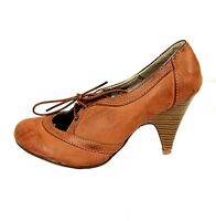 Womens Office Work Tan Brown Lace Up Heeled Court Shoes Ladies Sizes 3 4 5 6 7 8