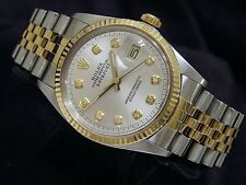 Rolex Datejust Mens Stainless Steel 18K Yellow Gold w/ Silver Diamond Dial 16013