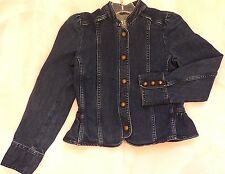 GAP KIDS Girls L $69 Stretch Jean Jacket Brass Button Dark Wash Only Worn Twice!