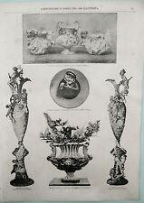 stampa antica EXPO 1889 ceramica MOLARONI PESARO CACCIAPUOTI TADOLINI FIRENZE