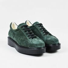 Robert Clergerie NIB $495 Green Black Suede Lace Up Platform Sneakers SZ 8.5