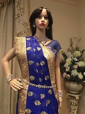 Hip Chain Bollywood  Belly Dancing Waist Belt Indian Bridal Blue White Cz A1