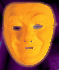 Neon Orange Plastic Face Mask Drama Theatrical Fancy Dress