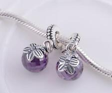 FACETED PURPLE BUTTERFLY 925 Sterling Silver Solid European Dangle Charm