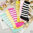 2 pair Women chromatic stripe five fingers socks Toe Socks