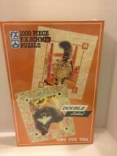 FX Schmid 1000 Pc double sided puzzle Two For Tea Cats  NEW Sealed