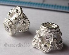 4x STERLING SILVER BRIGHT FLOWER END CAP CONE SPACER BEADS #075A