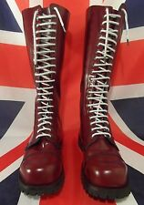 Underground New Gripper 20 Eyelet Steel Cap Boots Cherry Red Leather UK 10 Skin