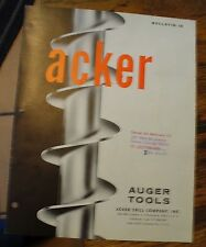 Acker Auger Tools Mining Bulletin 13 1963 Rare Free Us Shipping Illustrated Look