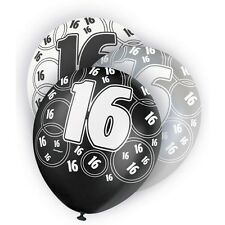 "6 Black Sparkle Happy 16th Birthday 12"" Pearlized Printed Latex Balloons"
