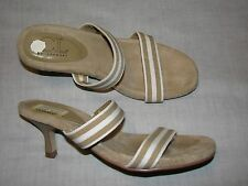 7.5 M CL Chinese Laundry Brown Tah Striped White Kitten High Heels Ladies Shoes