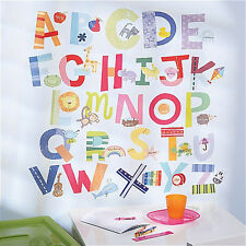 WALLIES ALPHABET FUN wall stickers 72 decals ABC letter school nursery decor