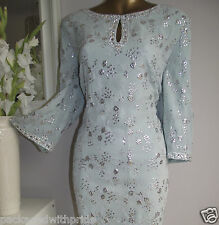 MONSOON LARISSA MINT GREEN SILVER SEQUIN DIAMANTE EMBELLISHED TUNIC DRESS 20-22